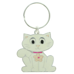 Cat Split-Ring-Keychain Silver-Tone & White Colored #093