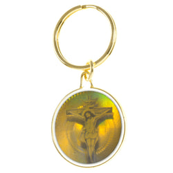 Holographic Religious Jesus On The Cross Split-Ring-Keychain Gold-Tone & Multi Colored #094