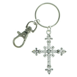 Cross Religious-Keychain With Crystal Accents Silver-Tone & Clear Colored #095