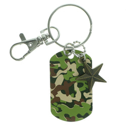 Camouflage Star Split-Ring-Keychain Green & Brown Colored #096
