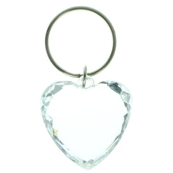 Heart Split-Ring-Keychain With Faceted Accents  Clear Color #103