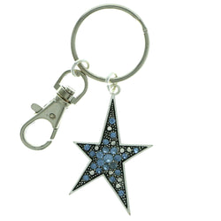 Star Split-Ring-Keychain With Crystal Accents Silver-Tone & Blue Colored #115