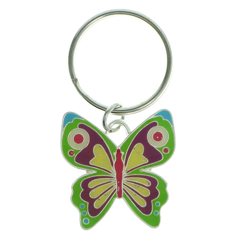 Butterfly Split-Ring-Keychain Silver-Tone & Multi Colored #120