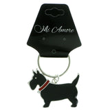Dog Split-Ring-Keychain With Crystal Accents Black & Red Colored #121