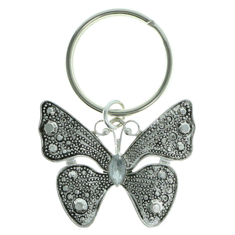 Butterfly Split-Ring-Keychain With Crystal Accents Silver-Tone & Clear Colored #128