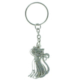 Cat AB Finish Glitter Split-Ring-Keychain Silver-Tone & Multi Colored #130