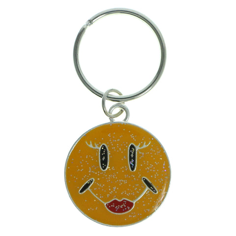 Smiley Face Glitter Split-Ring-Keychain Yellow & Red Colored #133