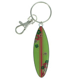 Surf Board Split-Ring-Keychain Green & Pink Colored #134