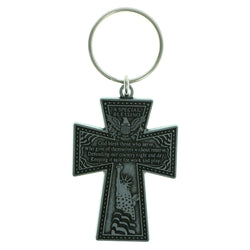 Inspirational Cross Military Split-Ring-Keychain Silver-Tone Color  #146
