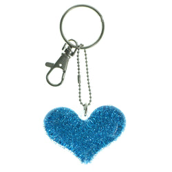 Heart Glittery Split-Ring-Keychain Clear & Blue Colored #158