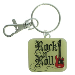 Rock n Roll Guitar Split-Ring-Keychain Yellow & Red Colored #160