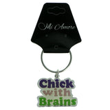Chick With Brains Split-Ring-Keychain Silver-Tone & Multi Colored #169
