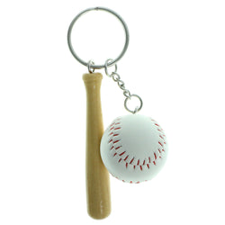 Baseball Bat Split-Ring-Keychain With Drop Accents Brown & White Colored #177