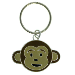 Monkey Split-Ring-Keychain Silver-Tone & Brown Colored #178