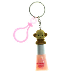 Lip Gloss Monkey Split-Ring-Keychain Pink & Brown Colored #182