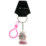 Lip Gloss Rhinoceros Split-Ring-Keychain Pink & Blue Colored #183