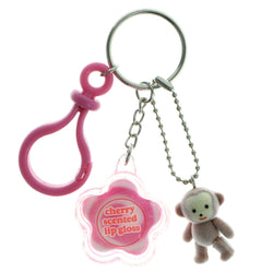 Lip Gloss Monkey Split-Ring-Keychain With Drop Accents Pink & White Colored #185