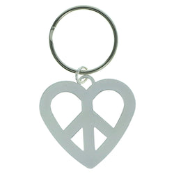 Heart Peace Sign Split-Ring-Keychain Silver-Tone Color  #187