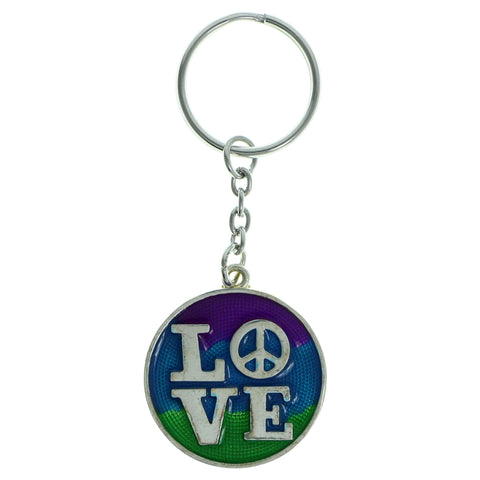 LOVE Peace Sign Split-Ring-Keychain Silver-Tone & Multi Colored #188