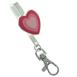 Hand Bag Clip Hearts Novelty-Keychain Silver-Tone & Pink Colored #191
