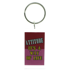 Attitude Is A Way Of Life Phrase Double Sided Split-Ring-Keychain Clear & Multi Colored #193