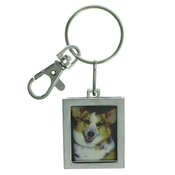 Picture Frame Double Sided Frame Size 1 1/4 X 1 1/2 Split-Ring-Keychain Silver-Tone Color  #201