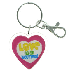 Heart Love Is All I Need Split-Ring-Keychain Clear & Multi Colored #202