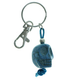 Sculpted Skull Split-Ring-Keychain Blue Color  #204
