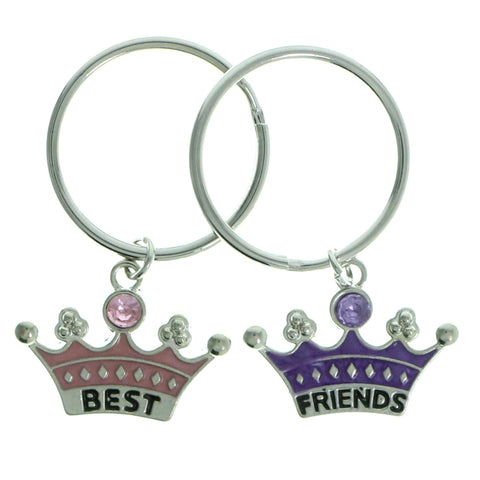 Best Friends Crown Split-Ring-Keychain With Crystal Accents Pink & Purple Colored #207