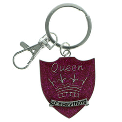 Shield Queen Of Everything Split-Ring-Keychain Silver-Tone & Pink Colored #208
