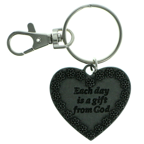 Inspirational Heart Split-Ring-Keychain Silver-Tone Color  #210