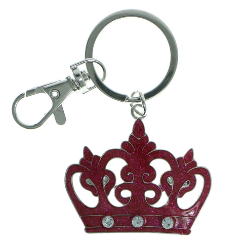 Crown Glittery Split-Ring-Keychain With Crystal Accents Silver-Tone & Pink Colored #211