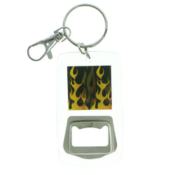 Bottle Opener Flames Split-Ring-Keychain Clear & Multi Colored #213