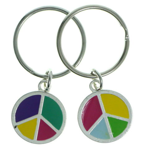 Peace Sign Set Of Two Split-Ring-Keychain Silver-Tone & Multi Colored #214
