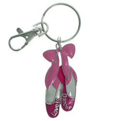 Ballerina Slippers Dance Split-Ring-Keychain Pink & Silver-Tone Colored #216