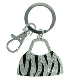 Hand Bag Zebra Stripe Split-Ring-Keychain With Crystal Accents Silver-Tone & Black Colored #221