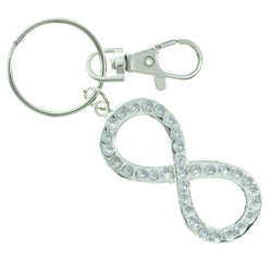Infinity Symbol Split-Ring-Keychain With Crystal Accents Silver-Tone & Clear Colored #222