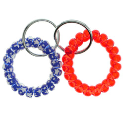 Stars Set Of Two Coil-Bracelet-Keychain Blue & Red Colored #225