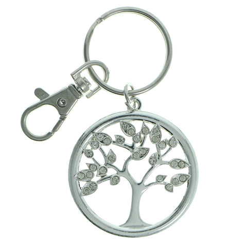 Tree Of Life Split-Ring-Keychain With Crystal Accents  Silver-Tone Color #227