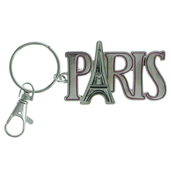 Paris Eiffel Tower Split-Ring-Keychain Silver-Tone & Pink Colored #231