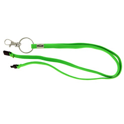 Stretchy Lanyard-Keychain Green & Silver-Tone Colored #242
