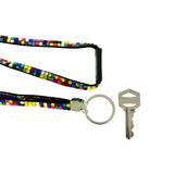 Black Colored Fabric Lanyard-Keychain With Multi Colored Accents #243