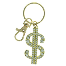 Dollar Sign Split-Ring-Keychain With Crystal Accents  Gold-Tone Color #308