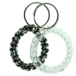 Set Of Two Stars Coil-Bracelet-Keychain Black & White Colored #244