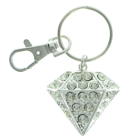 Diamond Split-Ring-Keychain With Crystal Accents Silver-Tone & Clear Colored #236