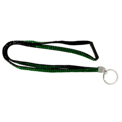Green & Black Colored Fabric Lanyard-Keychain With Crystal Accents #239