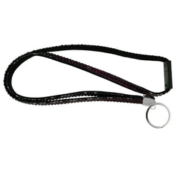 Purple & Black Colored Fabric Lanyard-Keychain With Crystal Accents #240