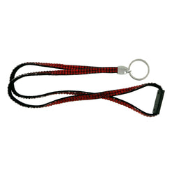 Red & Black Colored Fabric Lanyard-Keychain With Crystal Accents #250