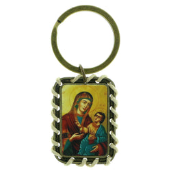 Gold-Tone & Multi Colored Metal Religious-Keychain #255