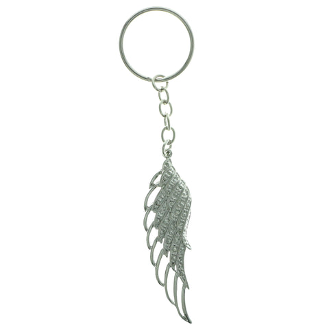 Angel Wing Split-Ring-Keychain With Crystal Accents Silver-Tone & Clear Colored #257